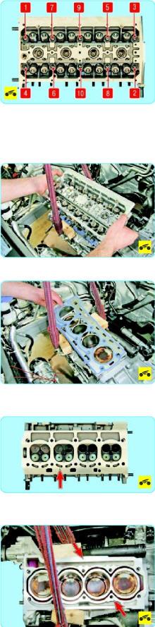 Ослабьте затяжку десяти болтов крепления головки блока цилиндров в порядке, указанном на фото, а затем окончательно выверните болты крепления головки блока и выньте их.